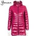 Yanueun Female Warm Winter long Jacket Women Coat Thin Brand 90% White Duck Down Parka Ultra-light Down CA522