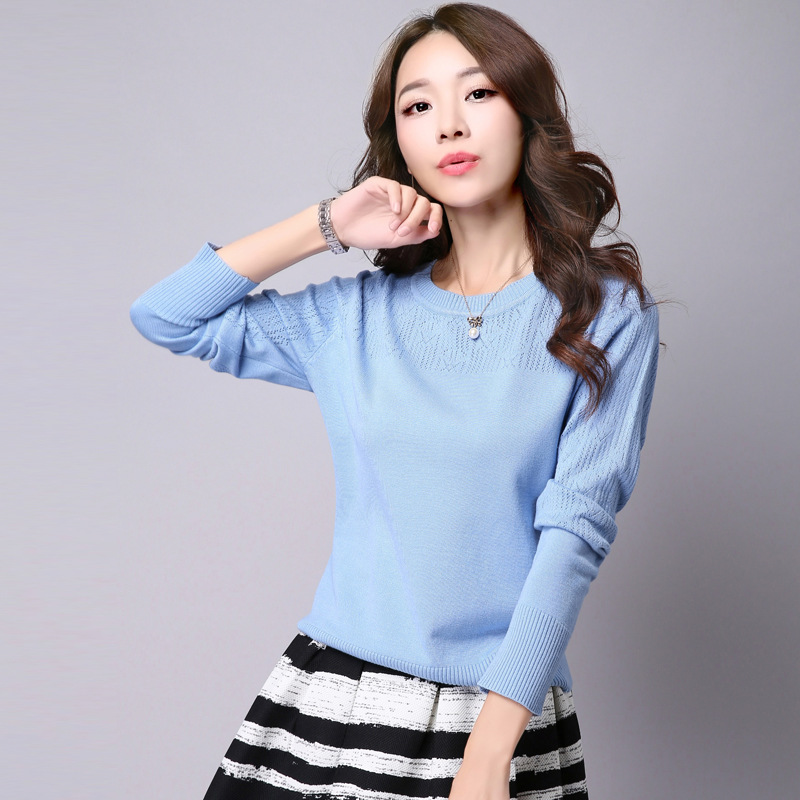 2016 New Fashion Women Sweaters and Pullovers Crew Neck Long Sleeve Patchwork Hollow Out Solid Knitting Pullover Sweaters