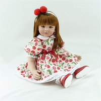 22 inch 55 cm Silicone baby reborn dolls, lifelike doll reborn babies toys Beautiful cherry Floral Dress