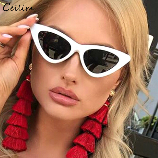 36d1bc41c41ae Sexy Cat Eye Sunglasses Women Black White Plastic Sun Glasses Superstar  Branded Small Cateye Shades Retro