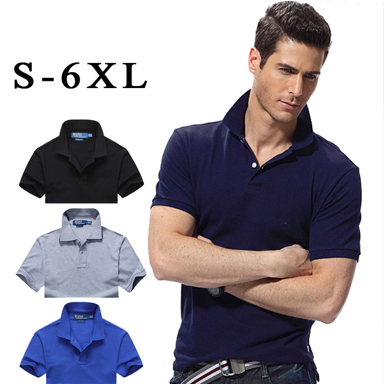 New Summer Men short sleeve   polos   shirts High quality pure cotton solid color Big horse Male   polos   casual slim mens tops