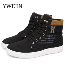 YWEEN New Arrive Men's Winter Shoes High Top New Lace-up Warm Shoes Men Ankle Boots new italy designer artificial leather men ankle shoes autumn winter warm high top stamping pattern lace up man black punk shoe