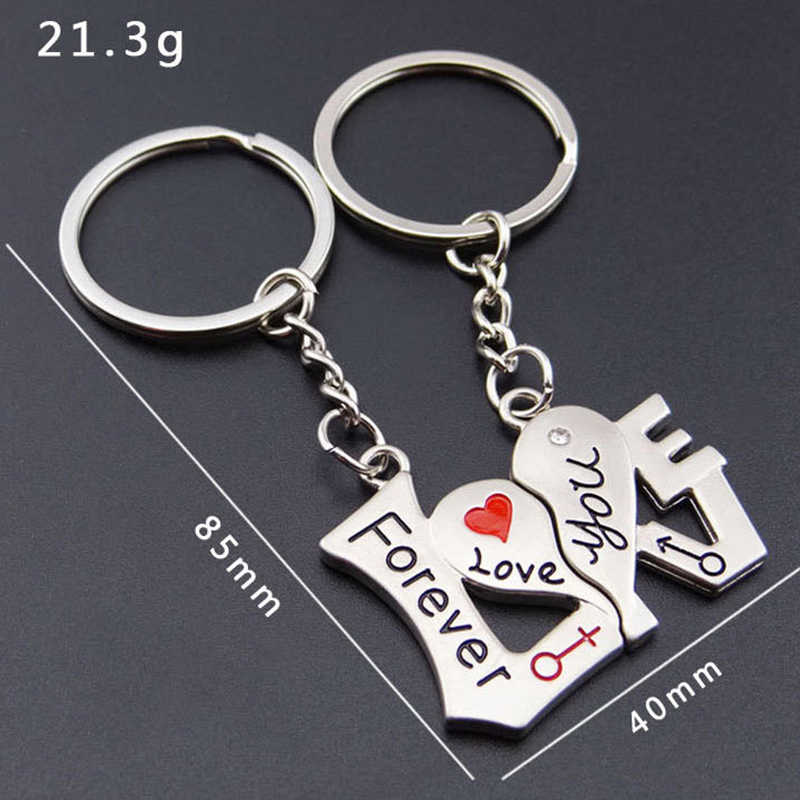 SUTEYI 1 пара в форме сердца брелок для ключей Love You Forever брелок для ключей День Святого Валентина романтический подарок бесплатная доставка
