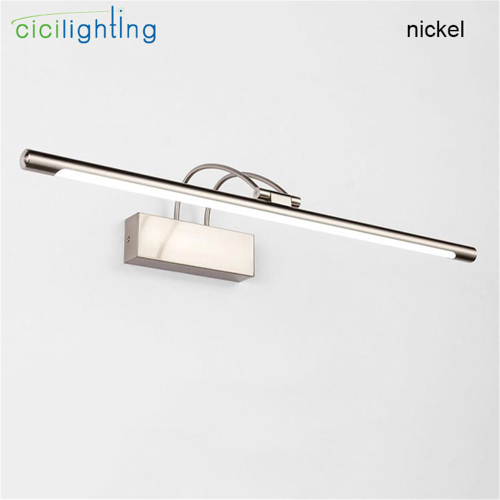 Modern Art Decoration L45 55 65 75cm Nickel Bronze body led bathroom mirror front lights vanity