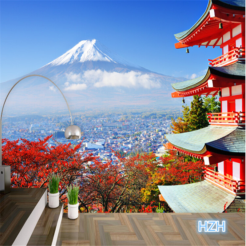 Beibehang Photo Wallpaper Fuji Japanese Flag Landscape