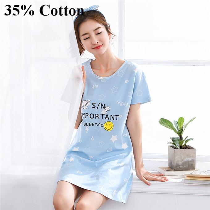 Dropwow 35%100 % Cotton Nightgown Women Sweet Girl Lounge Cute ... 25fd02dea