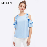 SheIn Womens Tops And Blouses Summer 2017 Half Sleeve Flounce Open Shoulder Top Blue Cold Shoulder