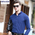 PORT&LOTUS Business Casual Men's Shirts Cotton Plaid Thin Mens Blouse Long Sleeve Shirt Men Camisa Masculina YT031 89106
