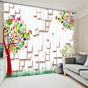 Colorful World 3D Printing Curtains With Bedding Room Living Room or Hotel Cortians Thick Sunshade Window Curtains