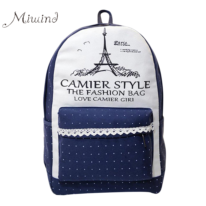 Women Backpack for Teenagers Girls Travel Eiffel Mochila Student School Canvas Casual Rucksack letter Korean Bags