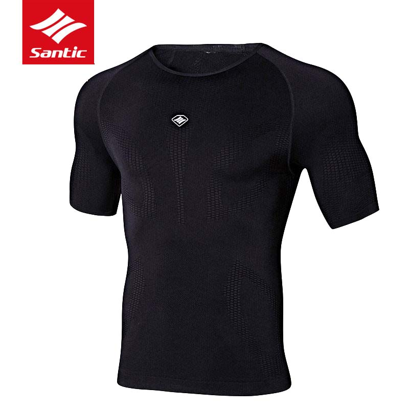 ФОТО 2017 Santic Cycling Jersey Men Breathable Quick Dry NET Downhill MTB Bicycle Jersey Bike Shirt Sports underwear Seamless Black