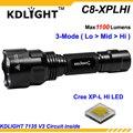 KDLIGHT C8-XPLHI Cree XP-L ПРИВЕТ V3 6500 К Белый 1100 Люмен 3-Mode СВЕТОДИОДНЫЙ Фонарик-Черный (1 х 18650)