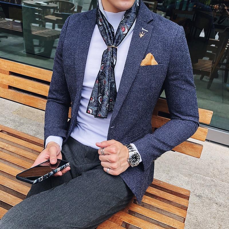 Homens Blazer Jacket Men 2018 Autumn Smoking Masculino Blazers Para Hombre Coffee Blue Grey Business American Hombre Blazers