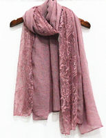 Luxury Embroidery Lace Floral Scarf Patchwork Cotton Viscose Lace Hijabs Large Size Shawl Scarves Muslim Head