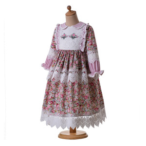 Image 2 - Pettigirl Muslim Girls Dress Long Sleeves Doll Collar Flower Printed Dress For Girls Birthday Party Dress Boutique Kids Clothes