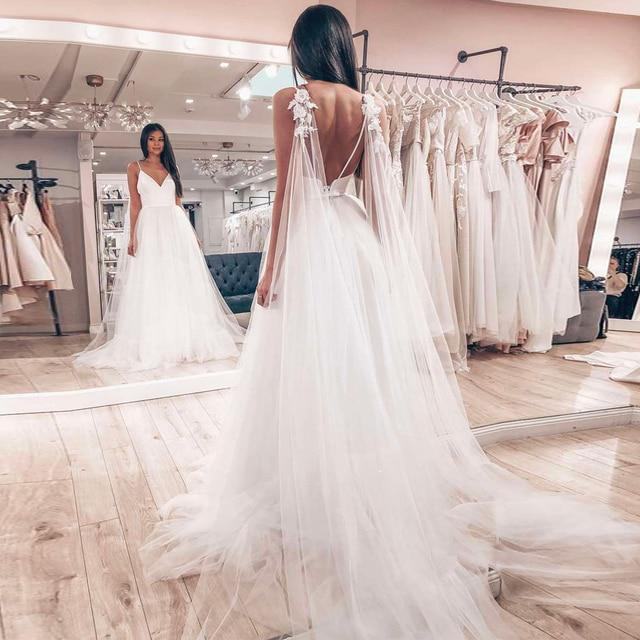 Hochzeit Kleid 2019 Sexy Spaghetti trägern Tüll Vestido De Novia Sleeveless V ausschnitt Backless Braut Kleider Robe De Mariage Nach