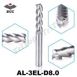 2 قطعة/الوحدة الأصل zcc. ct AL-3EL-D8.0 الصلبة كاربايد 8 ملليمتر إطالة الفلوت نهاية مطحنة طويل تمديد حافة القطع cnc أدوات