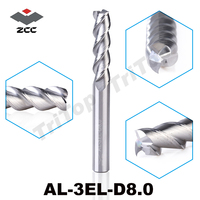 100 Guarantee Original ZCCCT AL 3EL D8 0 3 Flute Flattened End Mills With Straight Shank