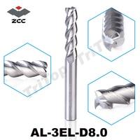 2 TEILE/LOS Ursprüngliche ZCC. CT AL-3EL-D8.0 vhm 8mm verlängerung schaftfräser lange flöte verlängerung schneide cnc werkzeuge
