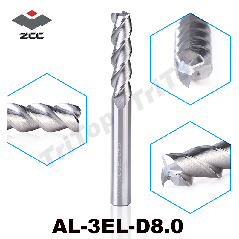 2PCS/LOT Original ZCC.CT AL-3EL-D8.0 Solid Carbide 8mm Lengthening End Mill Long Flute Extension Cutting Edge Cnc Tools