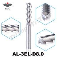 100 Guarantee Original ZCCCT AL 3EL D8 0 3 Flute Flattened End Mills With Straight Shank