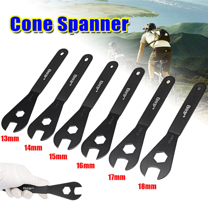 Carbon Steel Bicycle Spanner Wrench Spindle Axle Bicycle Bike Repair Tool Fit For 13mm 14mm 15mm 16mm 17mm 18mm Cone #2a06