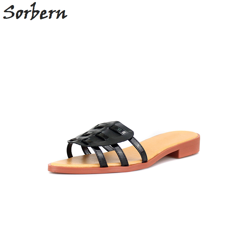 Sorbern Black Genuine Leather Women Slippers Low Heels Mules Shoes Women Slippers For Summer Women Flats Shoes Slides flats slippers suede pink sandals mary jane genuine leather pointy summer slides designer shoes women luxury 2018 mules gray