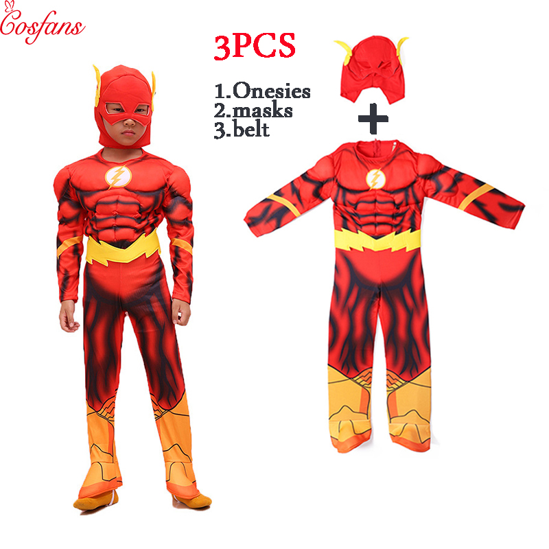 The <font><b>flash</b></font> child boy cosplay costume <font><b>Barry</b></font> <font><b>Allen</b></font> <font><b>Flash</b></font> muscle Cosplay Costume Carnival Halloween Boy Costume Makeup children 2018 image