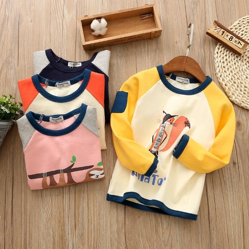 Spring Casual Fox Design Girls T-shirts Fashion Cotton Tshirt for Boys Brand Long Sleeve T-Shirts Good Quality Shirt for Child
