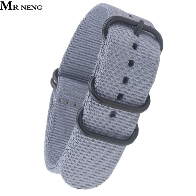 MR NENG hot sale fashion nato long Nylon Strap Band 20 22 24mm Zulu Grey Color Watchbands nylon smart bracelet for men wholesale suunto core nylon diver strap band kit w lugs adapters armygreen 5 colours 24mm zulu nato watchbands