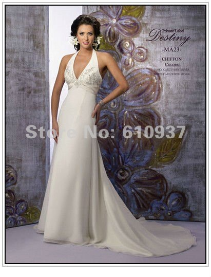 New Arrival!Wholesale!Retail!Halter V-neck Empire Waistline Sheath Chiffon Chapel Train Wedding Gown WD-0161