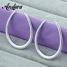Hot Sale 925 Sterling Silver Simple U Shaped Hoop Earrings For Women Fashion Jewelry Wedding Accessories L095