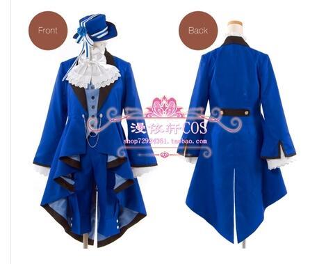 Black Butler Ciel Phantomhive Cosplay Costume Full Set Birthday Dress unisex Custom Made Free Shipping