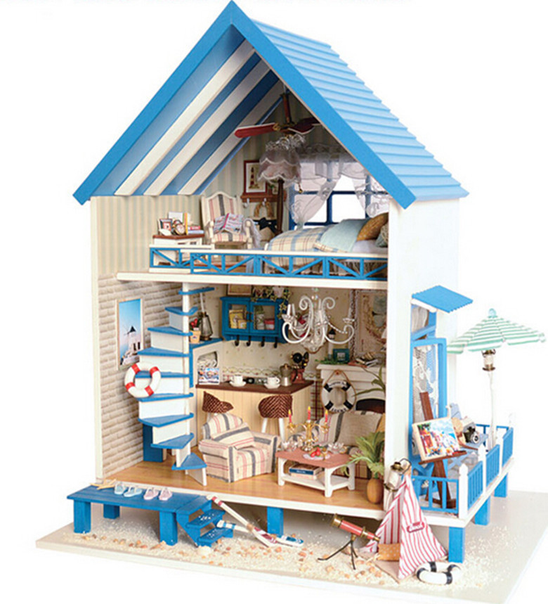 ФОТО Christmas Gift Diy Doll House Model Building Kits Wooden Miniature 3D Handwode Dollhouse Miniature Greative Gifts