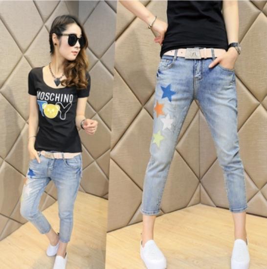 ZW246 Mulheres Denim Buraco Casuais Jeans Rasgado Skinny Calças Boyfriend Jeans Skinny Lápis de Bolso Do Vintage Botões de Cor Quente