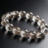 Подлинная Бразилия Природный Silver волосы, рутиловый кварц Кристалл Камень бисера Для женщин Исцеление браслет 16 мм