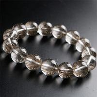 Genuine Brazil Natural Silver Hair Rutilated Quartz Crystal Stone Bead Women Healing Bracelet 16mm