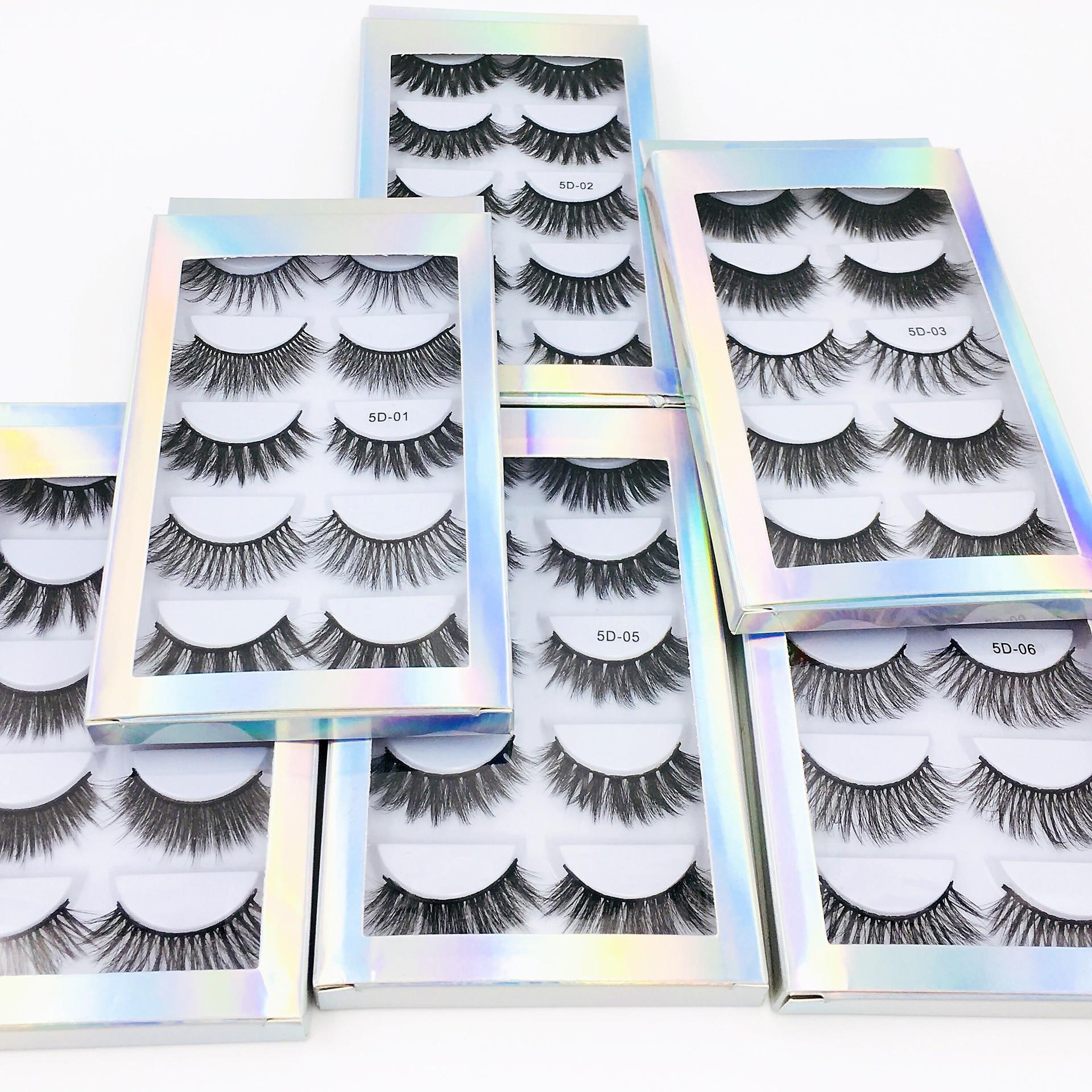 5 Pairs 3d Faux Mink False Eyelashes Thick Volume Natural For Beauty Makeup Extension Fake Eyelashes Strip Lashes Laser Box