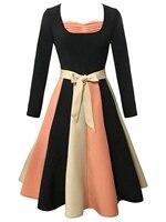 2018 Vintage Women Dress Sweetheart Neck A-Line Dress With Belt Long Sleeve Color Block Flare Vintage Dress for Women Vestidos