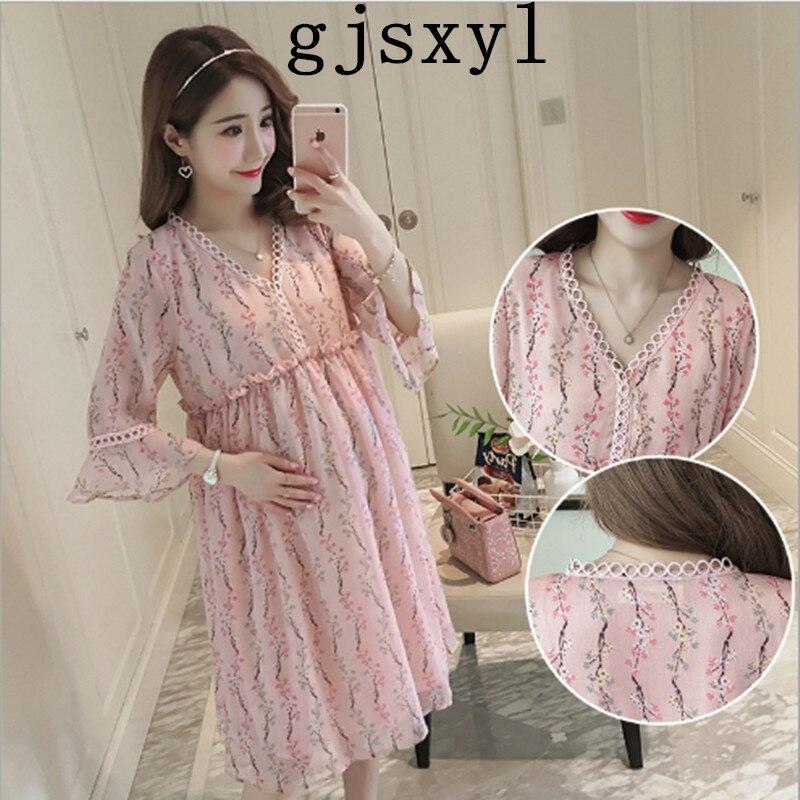 gjsxyl 2018 summer new short-sleeved maternity dress Korean fashion floral chiffon long pregnant women dress