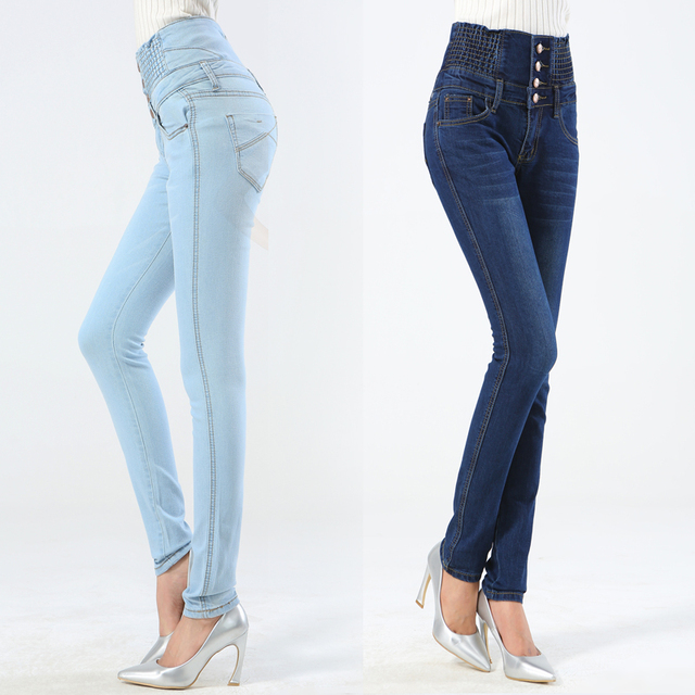 Size 26-40 Women Fashion Jeans Pencil Pants High Waist Jeans Sexy Slim Elastic Skinny Pants Trousers Fit Lady Jeans Plus Size