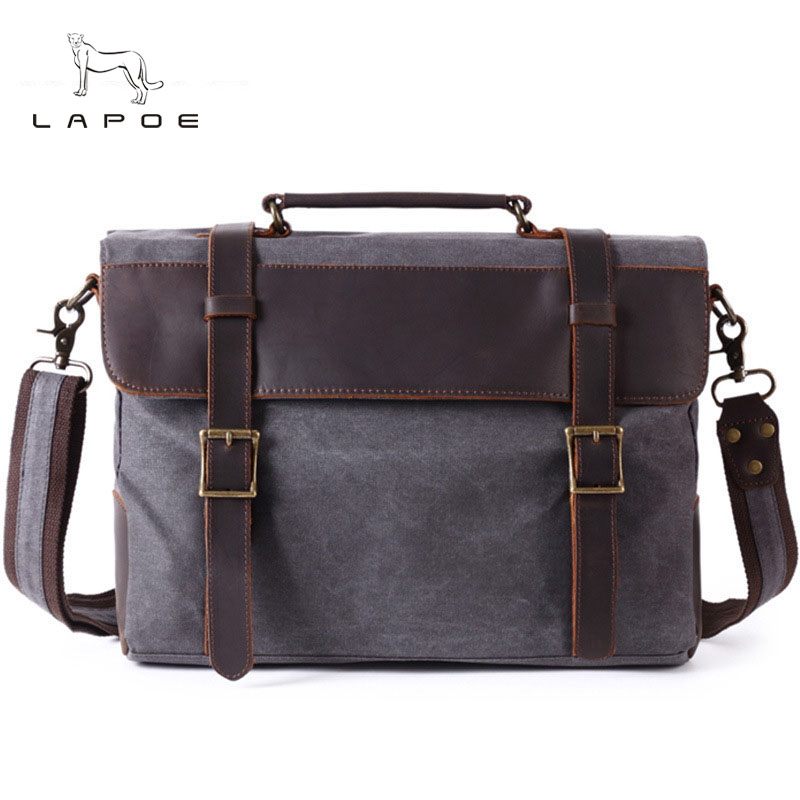 LAPOE2018 Men's Shoulder Bags Canvas Leather Briefcase Vintage Satchel School Shoulder Messenger Bags Fits 15'' Laptop Bag augur canvas leather men messenger bags military vintage tote briefcase satchel crossbody bags women school travel shoulder bags