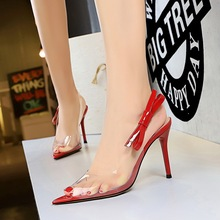 clear high heels pumps women shoes Sexy transparent pointed bow sandals ladies zapatos mujer tacon Pointed Toe Party