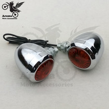 1 pair top quality Motorcycle Turn Signal light for Haley parts Electroplate motorbike LED flashiers 12V  Blinker Amber Light