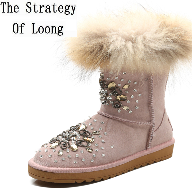 Europe Women Leather With Fur Full Grain Leather Crystal Anti Wool Boots Thick Warm For Winter Round Toe Plush Short Boots 1611 bacia winter boots for women full grain leather boots heels 5 8cm wool fur