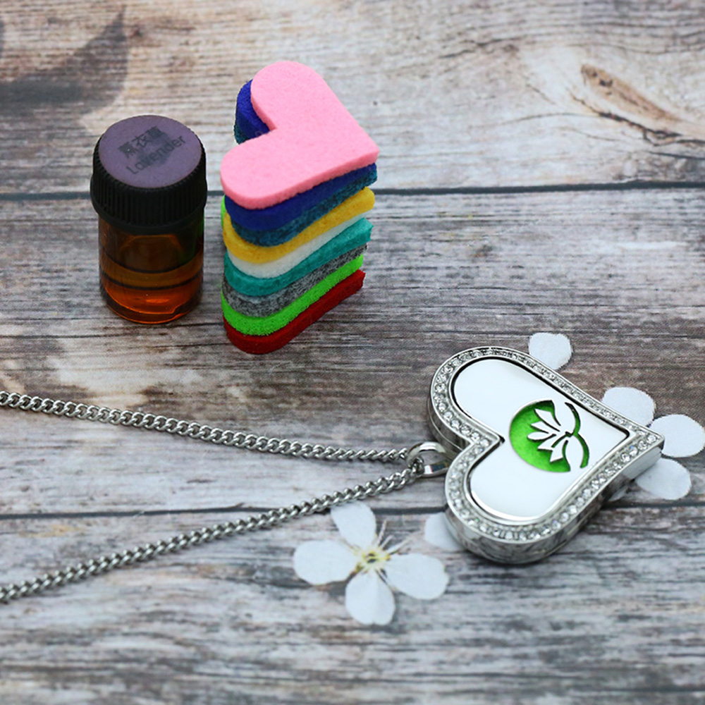 BOFEE Crystal Aromatherapy Oil Diffuser Necklace Pendant Silver Heart Shape Lotus Stainless Steel Locket Essential Jewelry Gift in Pendants from Jewelry Accessories