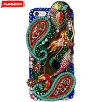 MANDERM Phone Case For Iphone X Women Luxury Diamonds Mermaid Handmade Hard case Back Cover For Iphone 6 7 8 6s Plus cases