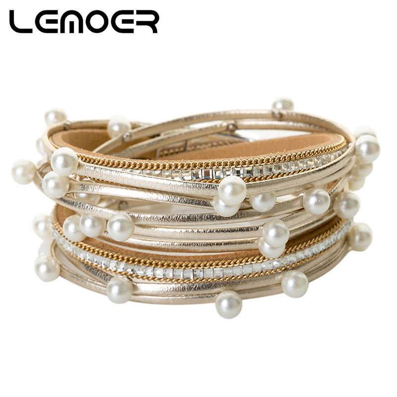 LEMOER Fashion Long Multiple Layers Wrap Leather Bracelets & Bangles Pearl Charms Bracelets Magnetic Jewelry for Women Gift