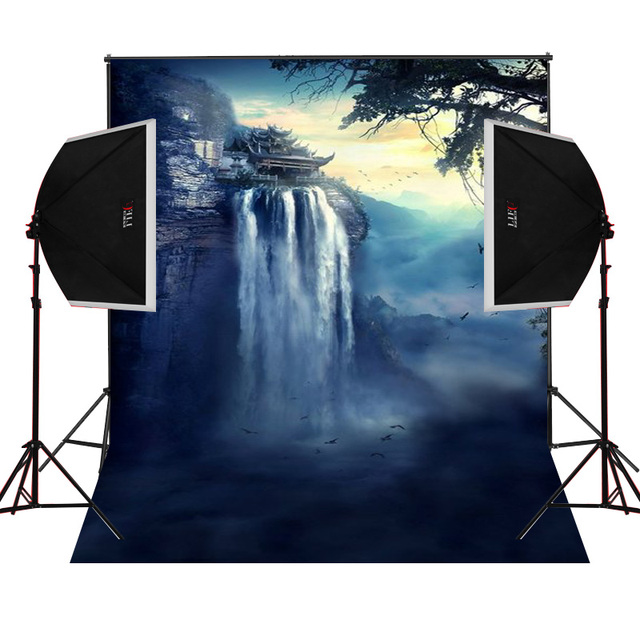 Cliff House Waterfall Scenic For Kids Photos Camera Fotografica Studio Vinyl Photography Background Backdrop Cloth Digital Props