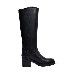 Image 3 - Morazora 2020 Nieuwe Collectie Vrouwen Knie Hoge Laarzen Ronde Neus Lederen Schoenen Vierkante Hakken Knight Platform Laarzen Vrouwelijke Zwarte